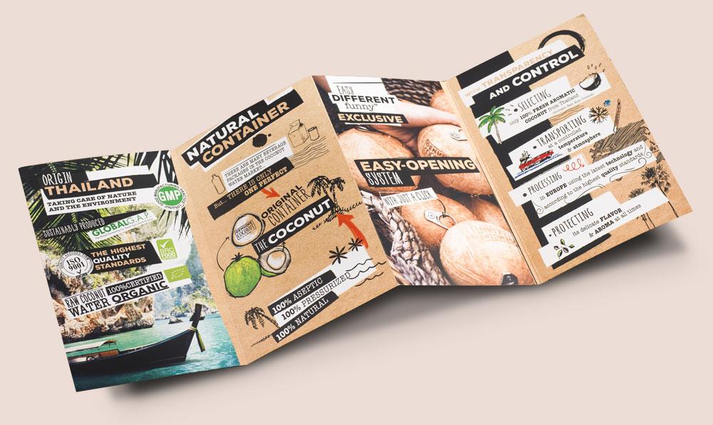 comunicación para empresas desplegable Genuine Coconut Sin Palabras