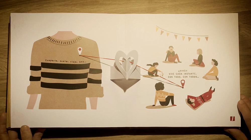 campaña navidad ilustración libro popup