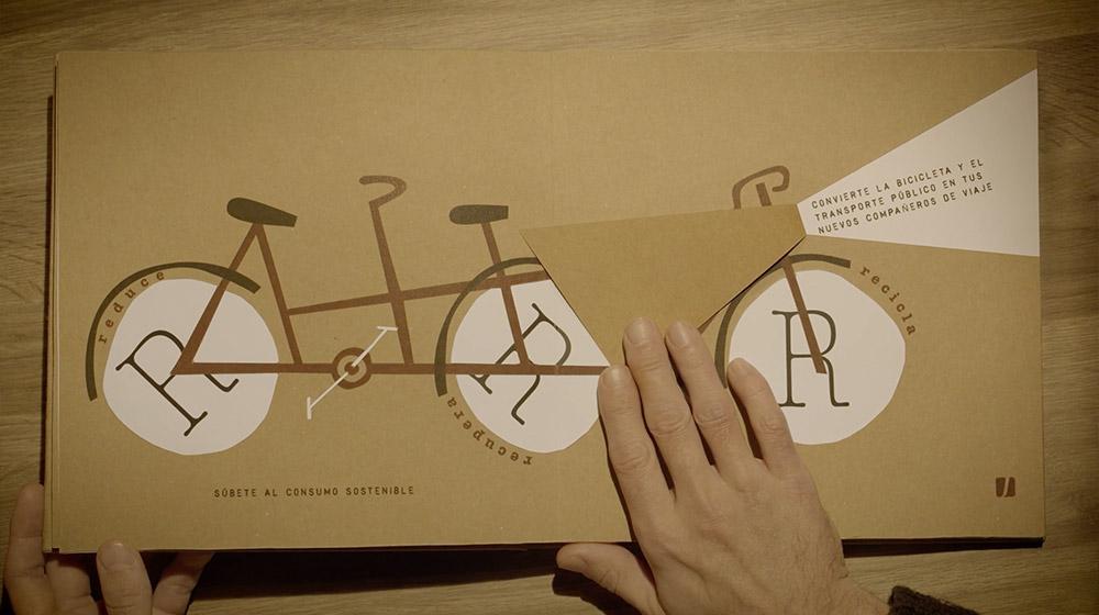 libro pop-up para campaña navidad sostenibilidad diseño