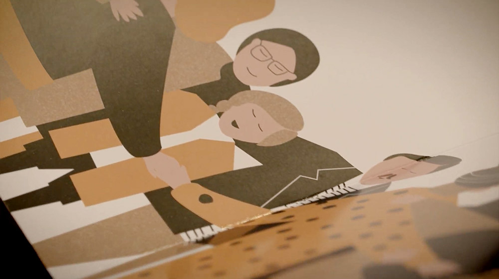 libro pop-up para campaña navidad sostenibilidad ilustración